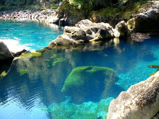 Los Pozones, Pucon, Chile - natural hotsprings- totally transparent like a clear glass