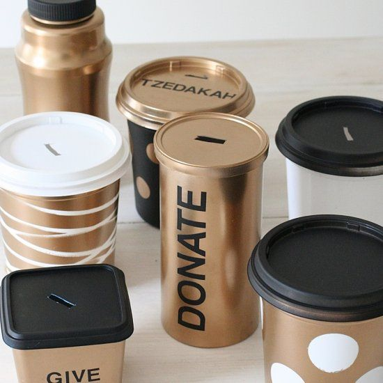 Make these stylish donation boxes with just about any food packaging you have around.