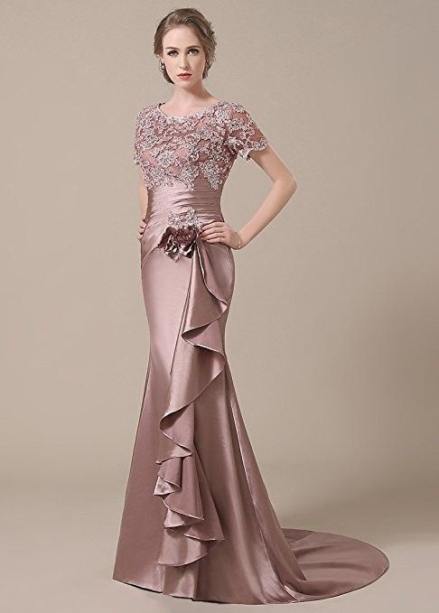 Elegant Stretch Satin Applique Scoop Neckline Lace Mermaid Mother of The Bride Dresses