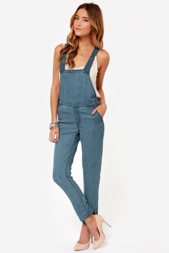 693caf2976ef OBEY Womens Alexia Relaxed Fit Soft Lightweight Cute Overalls Light Blue 27   108  OBEY  CapriCroppedFlareSlimSkinny