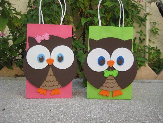 Owl Birthday Party Favor Bag por christinescritters en Etsy