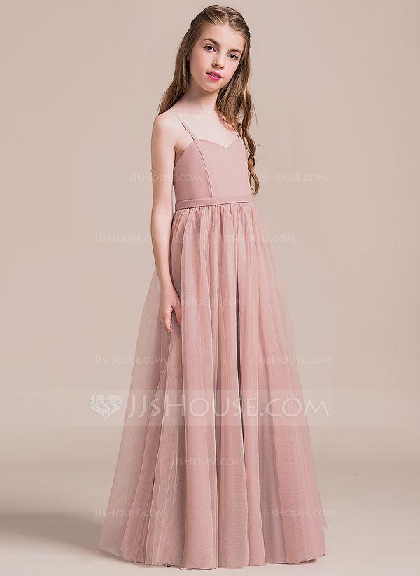 92e93ab16 A-Line/Princess Sweetheart Floor-Length Tulle Junior Bridesmaid Dress