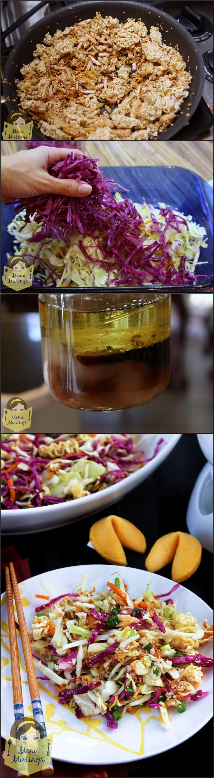Oriental Cole Slaw - fast, fresh, crunchy, and totally addictive! Perfect for gatherings and pot lucks!  Step-by-step photos.  <3  <3