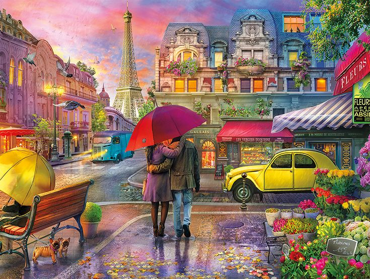 Cities In Color Raining in Paris 750pc Jigsaw Puzzle by