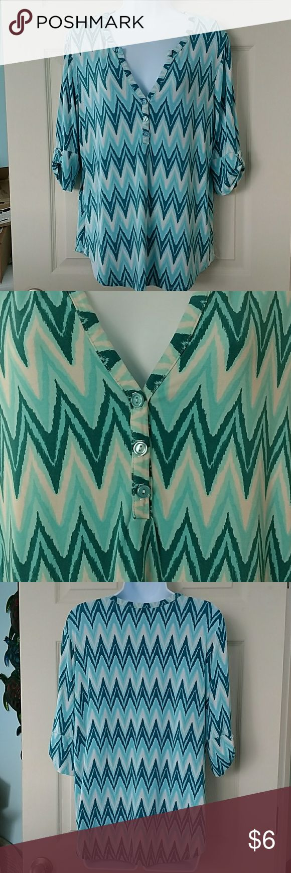 *SALE* Pixley Turquoise chevron shirt Gently worn condition .stretchy Pixley Tops