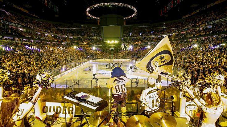 Nashville, TN - May 7: Nashville Predators mascot Gnash revs up the crowd prior to Game Six of the Western Conference Second Round against the St. Louis Blues during the 2017 NHL Stanley Cup Playoffs at Bridgestone Arena on May 7, 2017 in Nashville, Tennessee.