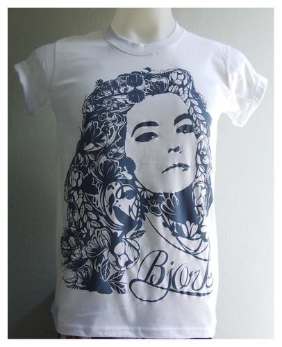 Bjork t-shirt blue color Björk Guðmundsdóttir Icelandic artist print
