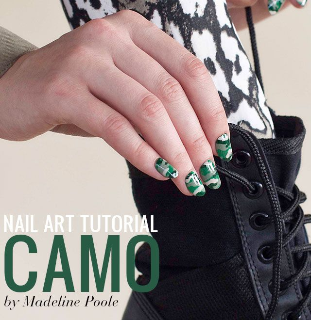 How-To: Camouflage Nail Art Design — Madeline Poole's New Book NAILS, NAILS, NAILS! from @Chronicle Books
