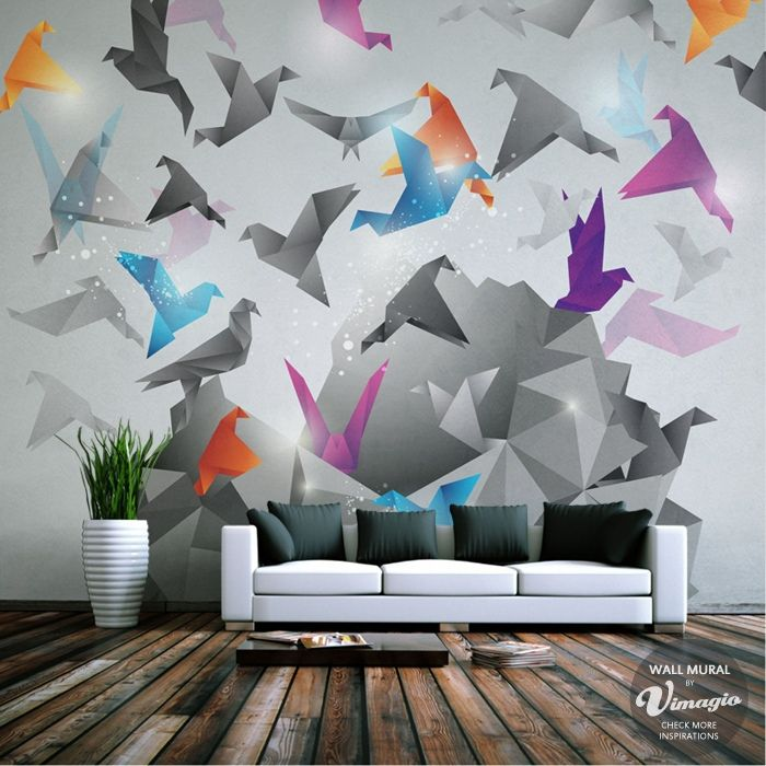 Colourful but not overwhelming, this mural would be a really cool addition to many minimalist living rooms!