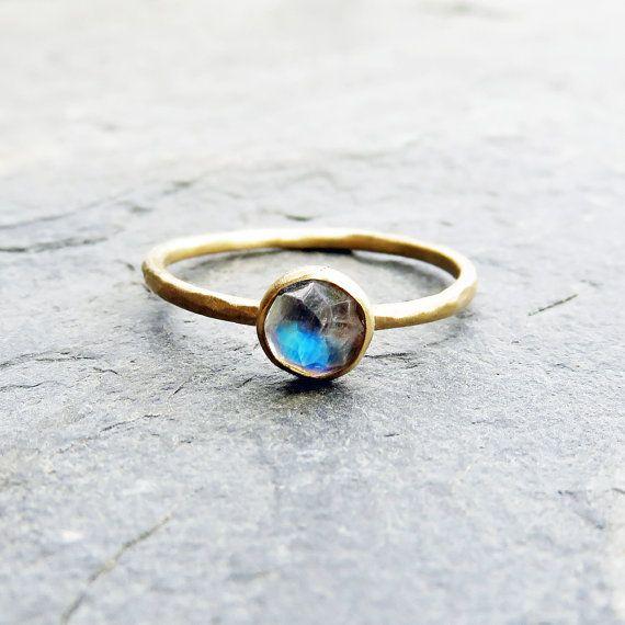 14 k Gold Mondstein Verlobungsring  Runde Rose Schnitt