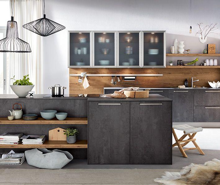 Systemat Av1070 Spachtelbeton Graphit I Av1097 Alteiche Natur Hacker Hackerkuechen Haecker Systemat Moder Kuchen Design Kuche Landhaus Modern Wohnkuche