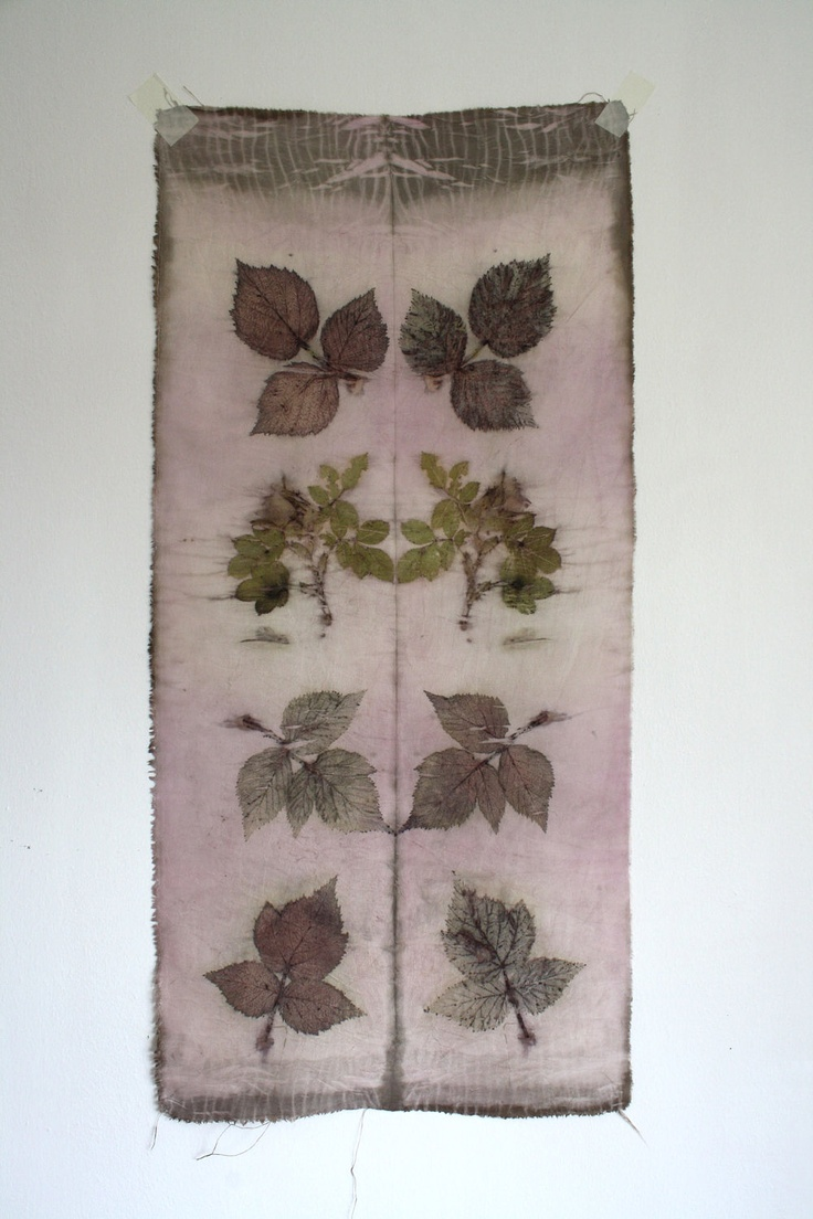 Naturally dyed silk fabric hand dyed and printed patchwork quilt fibre art wall piece