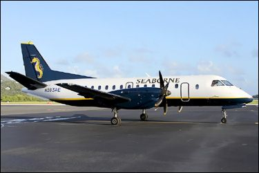 Seaborne Airlines - Saab 340 - Soon to be landing at The #Nevis International Airport.    http://nevisblog.com