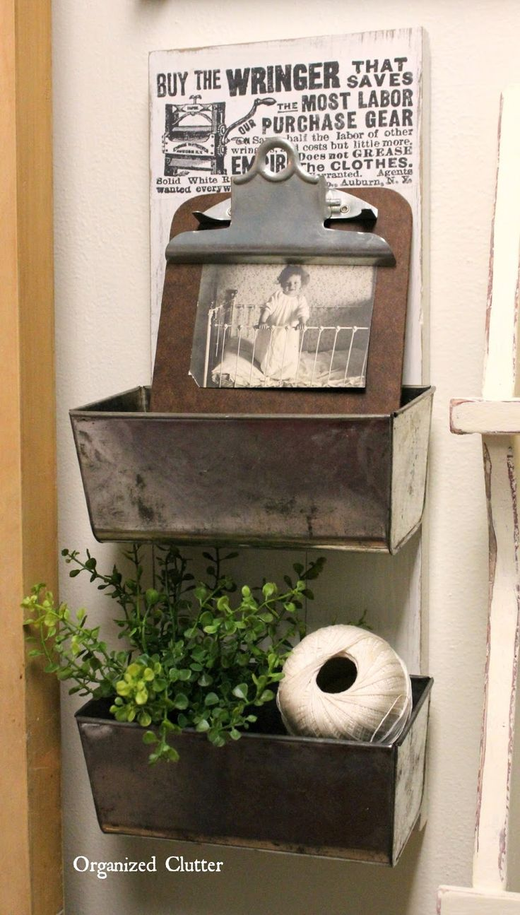 Easy Loaf Pan Wall Display Bins by Organized Clutter, featured on Funky Junk Interiors