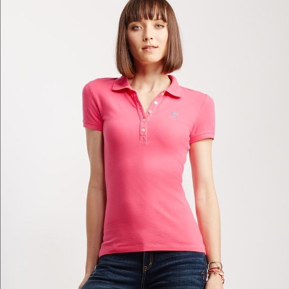 Aeropostale Pink Polo shirt Size small New never worn!!! Aeropostale Tops Button Down Shirts