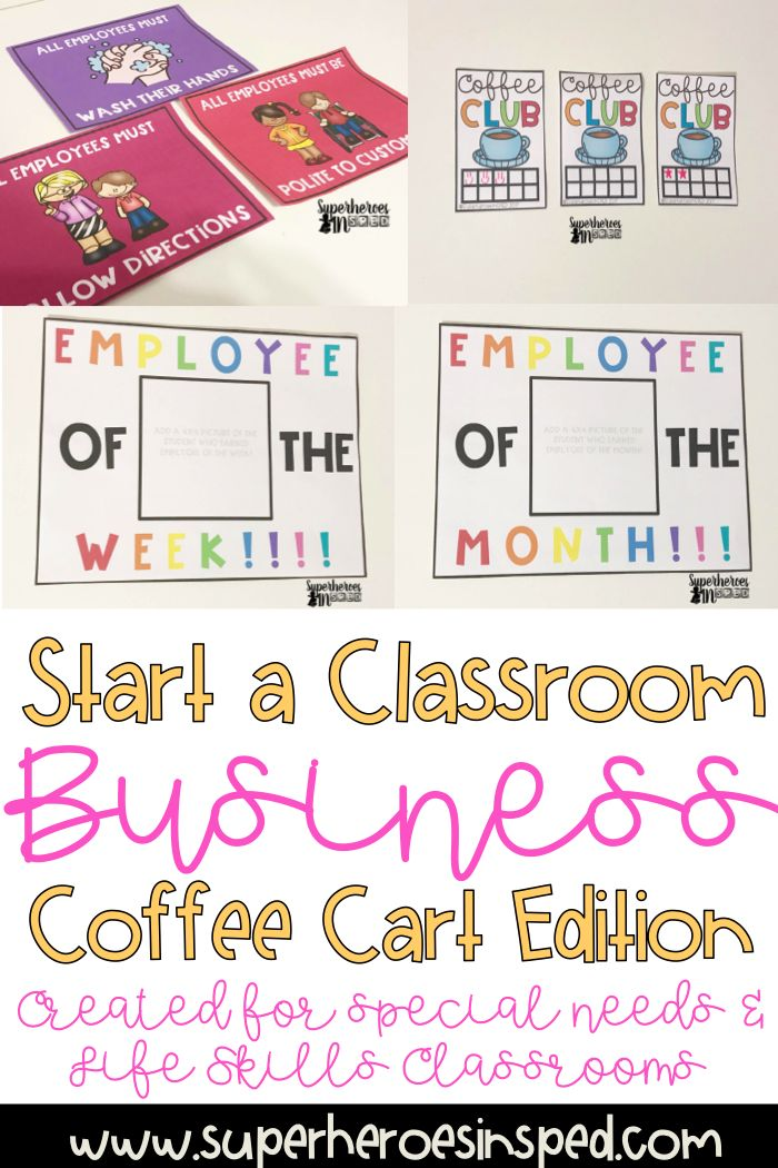 Teach your students how to start a classroom coffee cart business! Product includes social stories, visuals, employee, rules, coupons, and more!
