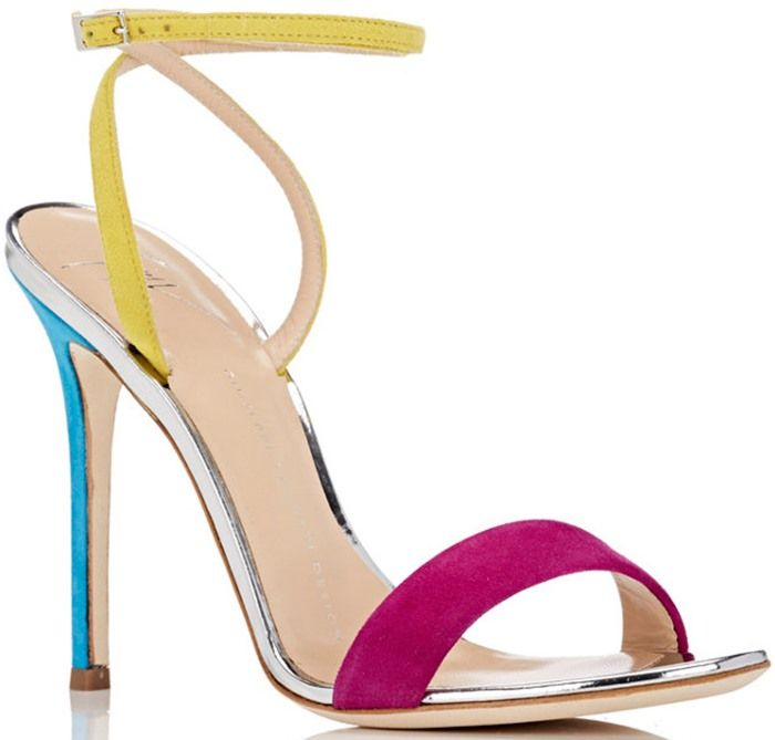 Giuseppe Zanotti 'Kloe' Suede Ankle-Wrap 110mm Sandals