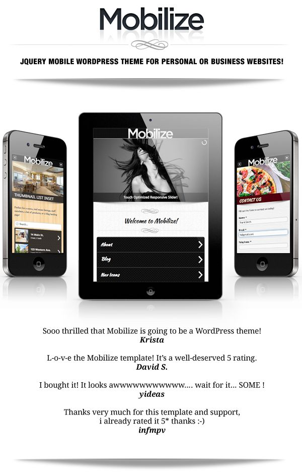 WordPress - Mobilize - jQuery Mobile WordPress Theme | ThemeForest