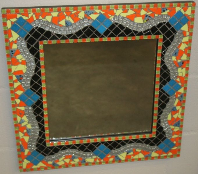 Tropical Illusions - Mosaic Mirror mainly in river tiles