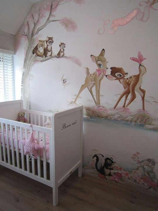 A pink Bambi wall mural is charming in this girl's nursery - Unique Nursery Ideas & Children's Room Decor