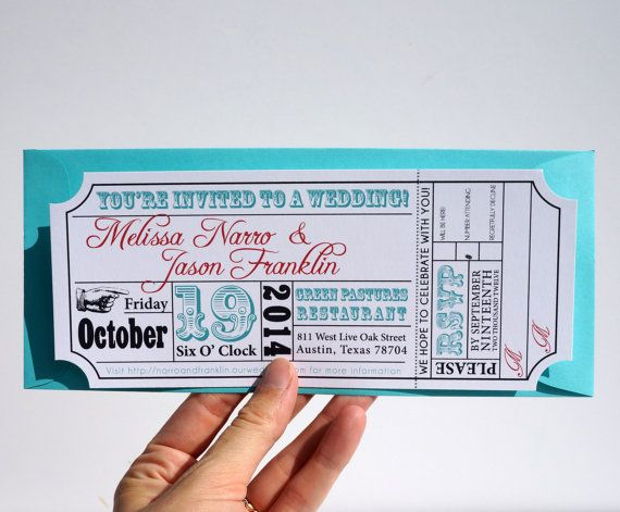 Movie Ticket Wedding Invitation Sample by brighteyedbirdie on Etsy