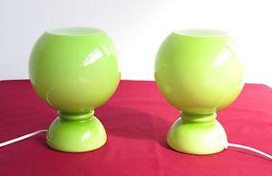 """COPPIA di età spazio vintage Murano """"INCAMICIATO"""" verde vetro lampade da tavolo"""