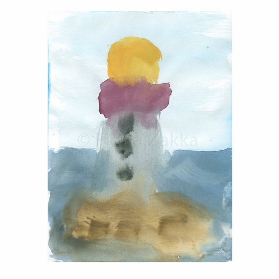 Watercolor+Lighthouse+Painting+Artwork+Seascape+by+fionazakka,+$20.00