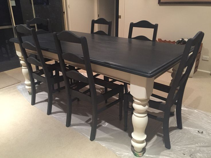 Not Quite Finished Yet But Im Loving My Makeover Of Our 20 Year Old Tired Timber Dining Table And Chairs Annie Sloan Chalk Paint In Graphite On The