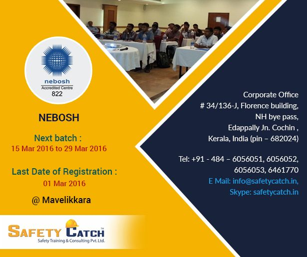 Time is running out to register! Enroll now for the next #NEBOSH #training starting from 15 March 2016. For Online Registration: http://bit.ly/Training_Registration Contact us for details: http://bit.ly/Contact_SafetyCatch