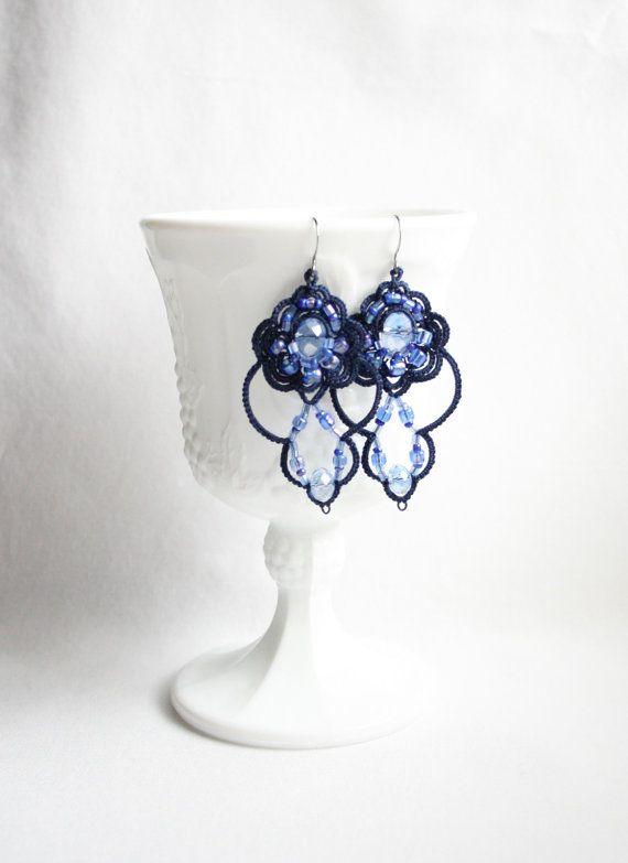 Blue Navy Tatting Lace Beaded Crystal Dangle Chandelier Earrings