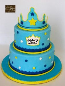 blue gold crown cake