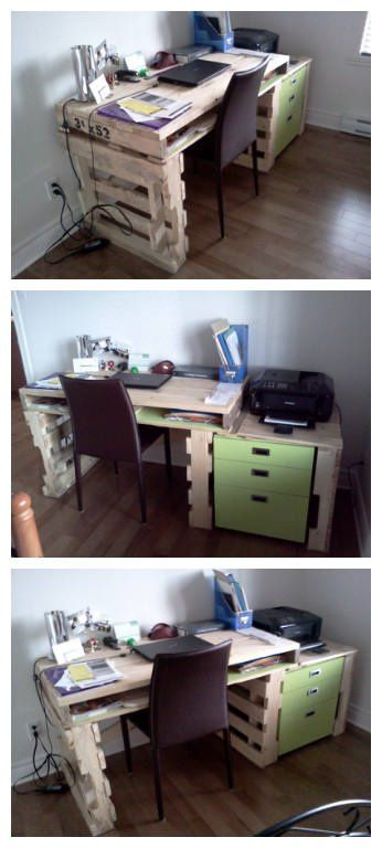 Writing desk for my house (or Office) made with recycled pallets wood.   Bureau…
