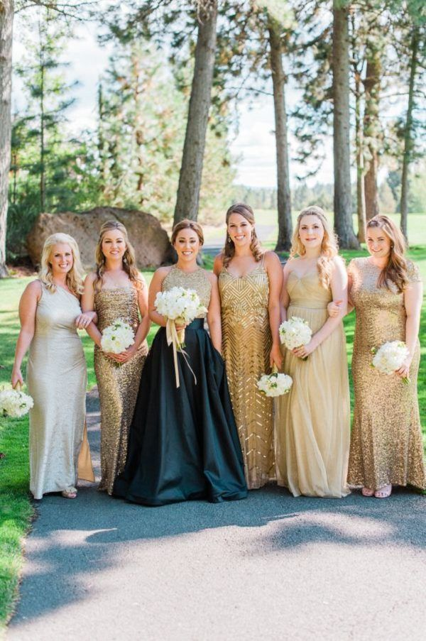 gold mismatched bridesmaid dresses / http://www.deerpearlflowers.com/mix-n-match-bridesmaid-dresses/