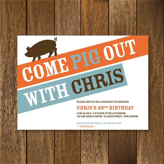 Pig Roast Party Invitation by PaperGoodiesbyKim on Etsy, $17.50