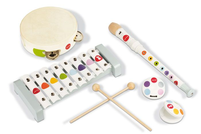 Janod Confetti music set will have everyone having fun. Ideal for preschoolers. Make some music and sing along.  Age: 18 months #toys2learn#janod#confetti#music#set#preschool#toddler#gift#australia#