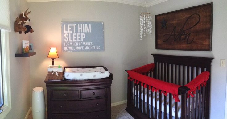 Baby Boys Nursery With Brown Rustic Baby Crib And Dark Brown Drawers And Beige Wall Paint Idea And Framed Artwork Rustic Baby Cribs