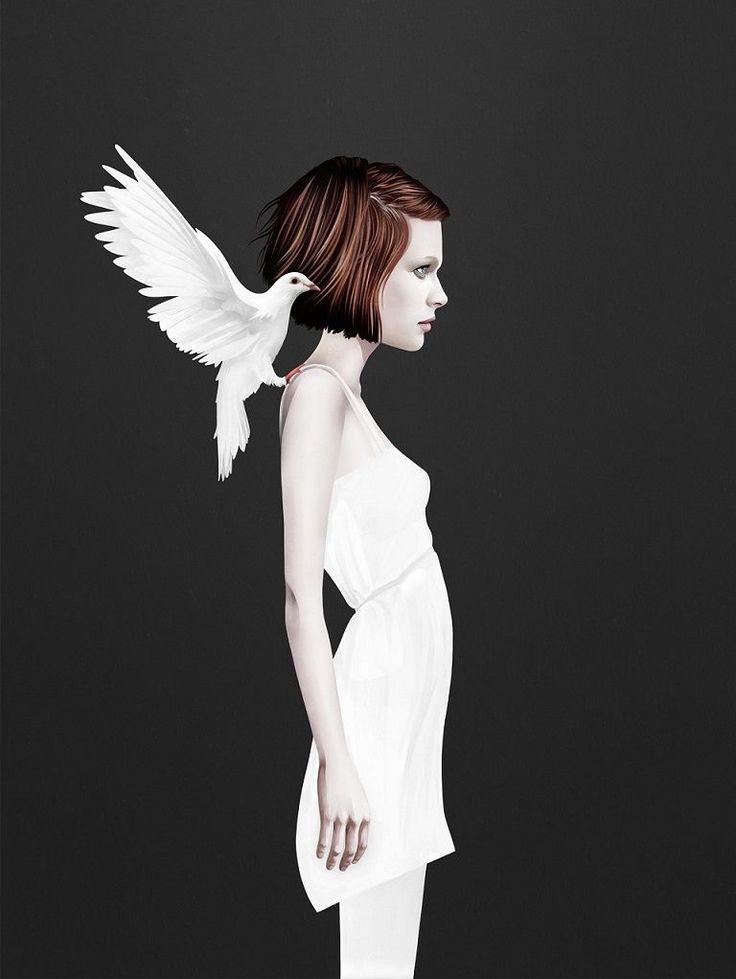 Grafický plakát dívky s holubicí z pera Rubena Irelanda