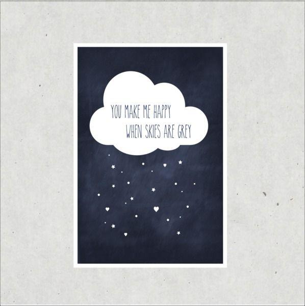 """Bilder - Kunstdruck / Artprint """"Happy when skies are grey"""" - ein Designerstück von TypicalMe bei DaWanda"""