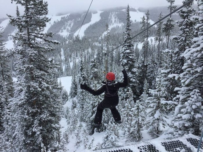 Fly Through The Frosty Air While Marveling At The Frozen Landscape On Montana S Winter Zipline Adventure Zipline Adventure Ziplining Montana Winter