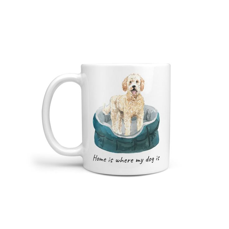 Home Is Where My Dog Is Golden Doodle Dog Mug Illustrated