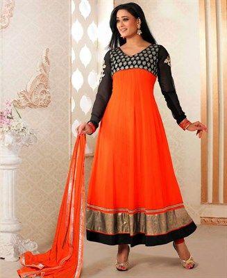 Flamboyant Black & Deep Orange Anarkali Salwar Kameez [ADF28262] $62.38 - Buy fashion wear online, Buy Indian wear Online by A1designerwear.com