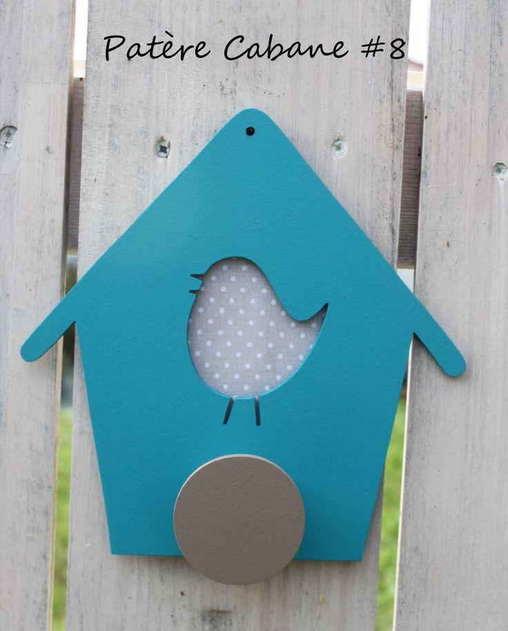 Patère Cabane à oiseaux #8 bleu turquoise et taupe : Chambre d'enfant, de bébé par unarbre-entete