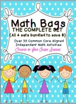 Math Bags for 1st Grade THE COMPLETE SET (30+ Common Core Aligned Math Centers) $