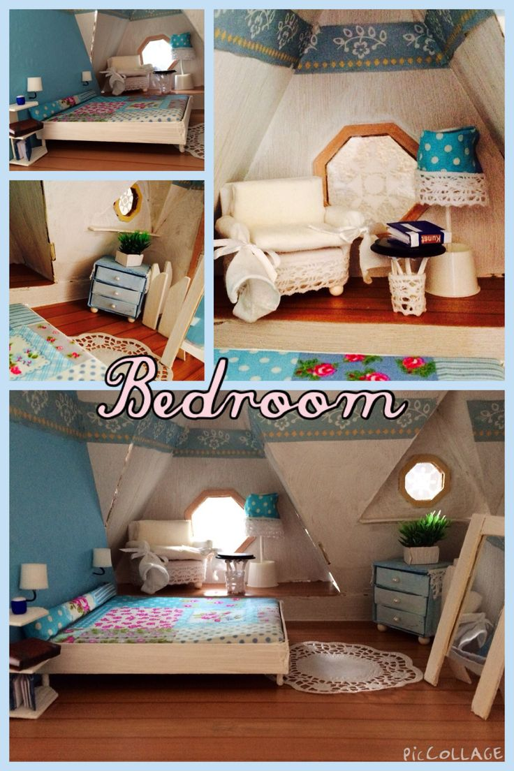 Dollhouse bedroom miniature bed for the bed i used for Dollhouse bedroom ideas