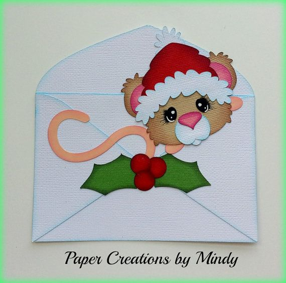 Elite4u MindyChristmas Mouse in Envelope by Mindyspapercreations