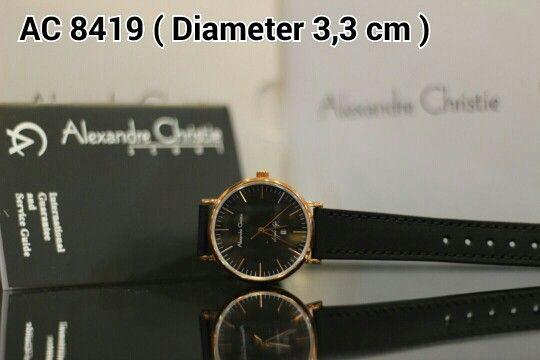ALEXANDRE CHRISTIE 8419 Harga IDR 950.000 Material : Leather black - ring rosegold Diameter 3,3 cm Garansi mesin 1 tahun international