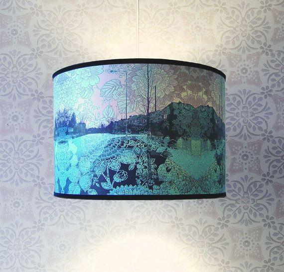 Lampshade: Houses, Lamps Shades, Handmade Lampshades, Medium Size, Lampshades Pale, Suburban Dreams, Pale Blue, Size Lampshades, Blue Suburban