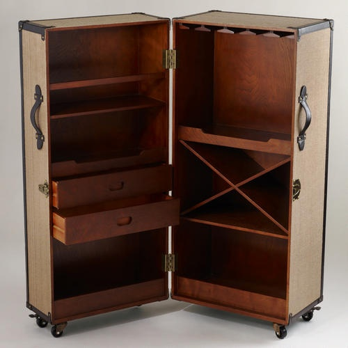 Clyde Steamer Trunk Bar - v3 | World Market Bar for the Man Cave; Can close up when kids are around or when using the man cave as overflow sleeping