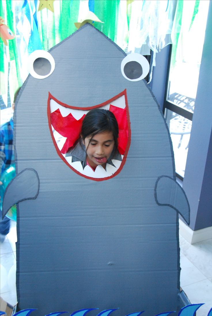 Shark photo booth prop face in hole