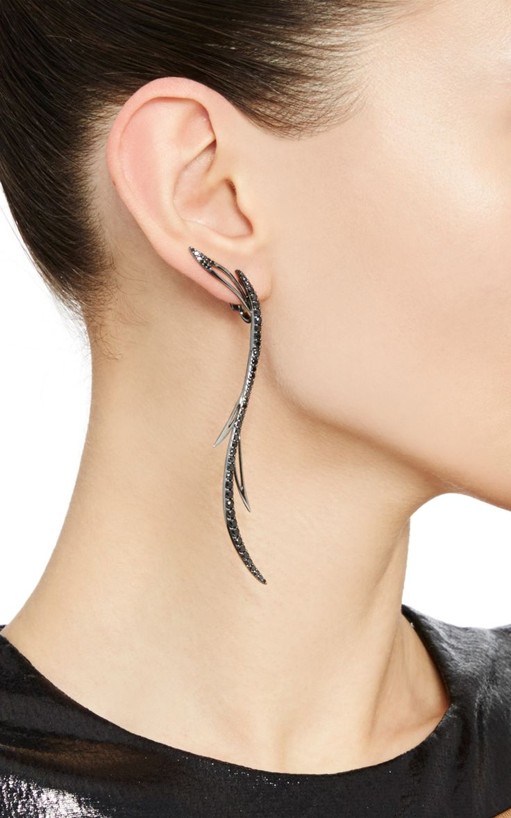 Black Rhodium Plated Mono-Earring With Black Diamonds by CristinaOrtiz for Preorder on Moda Operandi